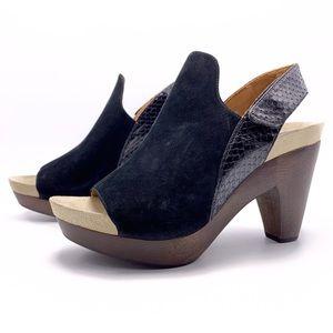 Earthies Positano 9B Black Wood Base Clog Sandals